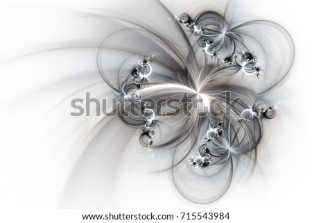 Stock Photo Abstract fantastic silver flowers on white background. Fantasy fractal texture. 3D rendering.