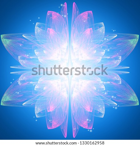 Abstract fantasy background of color blue flower. Bright illustration with fractal elements. Fractal art design. #1330162958