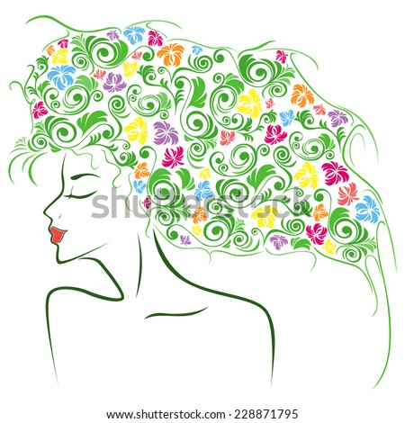 Abstract female head contour with colourful floral elements as a hair, hand drawing illustration