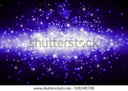 Abstract festive background - bright blue lights with beams