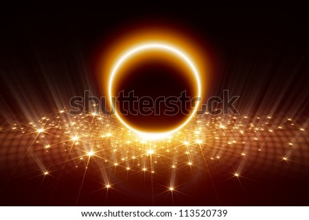 Abstract festive background - bright orange circle, stars