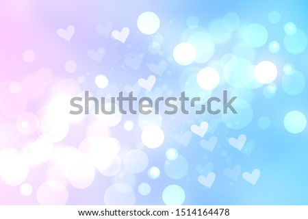 Abstract festive blur bright blue pink pastel background with white hearts love bokeh for wedding card or Valentine's day. Space. Card concept. stock photo