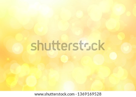 Abstract festive blur bright yellow pastel background with yellow hearts love bokeh for Mothers day, valentine or wedding card. Space for design. Card concept. #1369169528