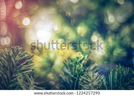 Abstract festive blur light background. Christmas tree decoration light bokeh for use as bakground or backdrop. #1224257290
