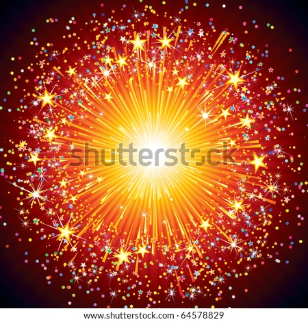 abstract festive firework,  explosion on black background