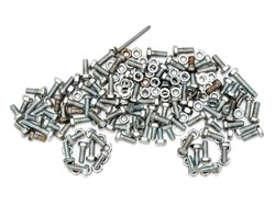 Abstract figure of a automobile made of hardware. The car is composed of new and old rusty bolts and nuts isolated on a white background. The concept of machine repair and maintenance.