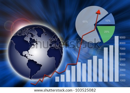 Abstract financial chart, graph and global economy