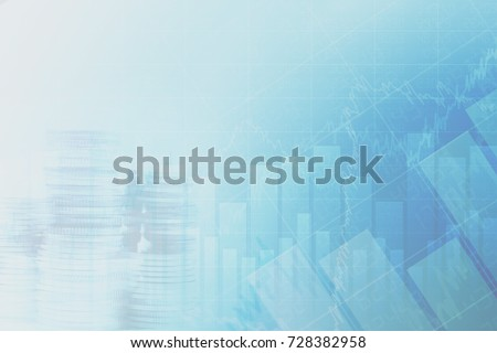 Abstract financial chart with graph and stack of coins in Double exposure style background