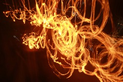 Abstract fire rotation at night