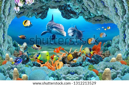 Abstract Fish Aquarium illustration design and background