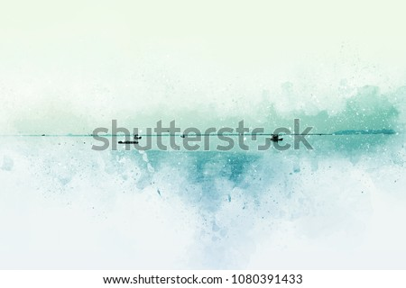 Abstract Fishing boat in sea on watercolor painting background.