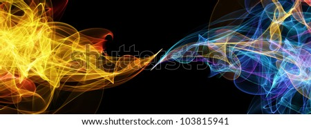 Abstract flame and cold background