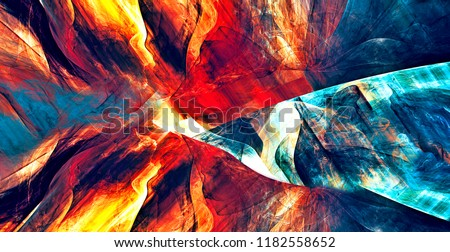 Abstract flame background. Dynamic bright painting texture. Modern futuristic pattern. Fractal artwork for creative graphic design