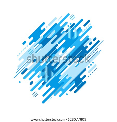 Abstract flat dynamic background isolated on white. Blue geometric motion shapes. Colorful pattern for cover design, poster, card, greeting, business, decoration. Raster illustration template.