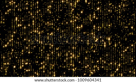 Abstract flickering gold background. 3d rendering particles.