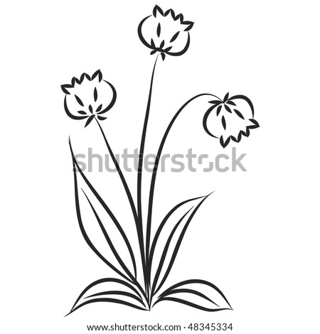 Abstract floral background with foliage and flower tulip - stock photo
