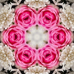 abstract floral kaleidoscopic type pink coloured decorative background image