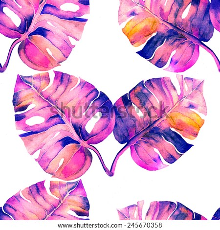Abstract floral liana watercolor seamless background. Liana leaves background. Can be used for swimwear, web pages, identity style, printing, textile, cards, wrapping, invitations, etc. - Shutterstock ID 245670358