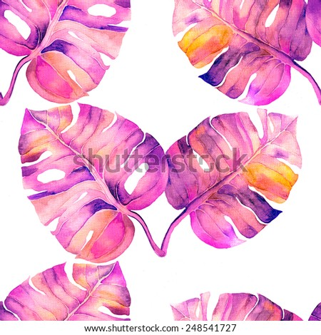 Abstract floral liana watercolor seamless background. Liana leaves background. Can be used for swimwear, web pages, identity style, printing, textile, cards, wrapping, invitations, etc. - Shutterstock ID 248541727