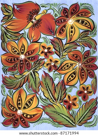 abstract floral ornament with bright flowers, leaves and butterfly