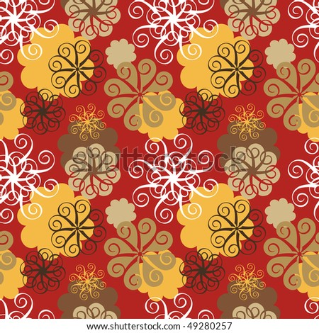 Abstract floral seamless pattern, red background.