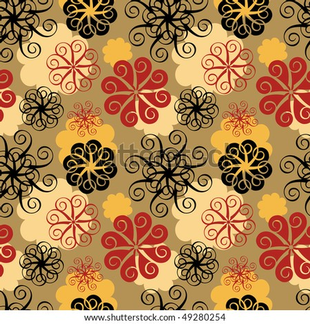 Abstract floral seamless pattern, tan background. - stock photo