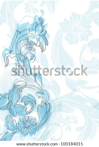 Abstract floral vintage blue background for design, illustration