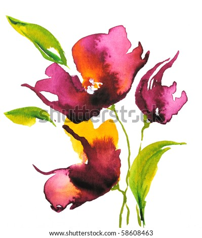 stock photo : Abstract floral watercolor design with stylized violet flowers on white. Art is created and painted by photographer