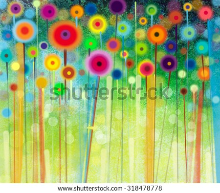 Abstract floral watercolor painting. Hand painted Yellow and Red flowers in soft color on green color background. Abstract flower paintings in the meadows. Spring flower seasonal nature background