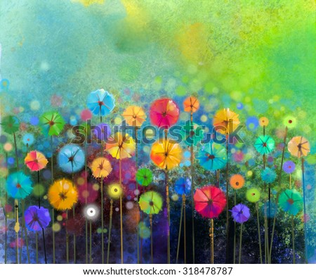 Abstract floral watercolor painting. Hand painted Yellow and Red flowers in soft color on green color background. Abstract flower paintings in the meadows. Spring flower seasonal nature background - stock photo