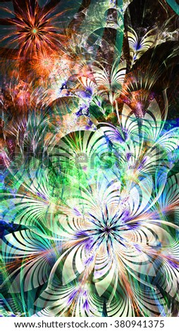 Abstract flower background with a large exotic flower in lower left corner and flower and star pattern with leaves on top of it, in bright red,green,blue,pink
