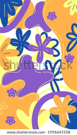 abstract flower illustration with purple, blue, and yellow for backdrop, wallpaper, backdrop, textile, and print Photo stock ©
