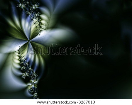 abstract flower or butterfly at left side, copyspace at right side, suitable for invitations and announcements