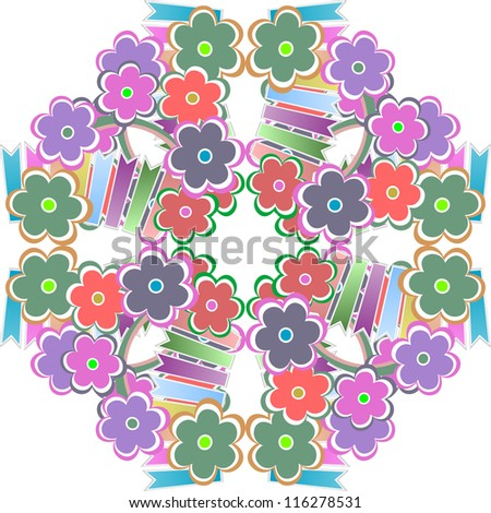 Abstract flower seamless pattern background. raster