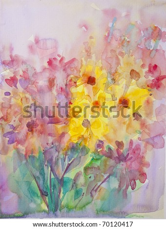 Abstract flower with Water Color