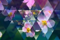 abstract flowers geometric background with triangles, summer