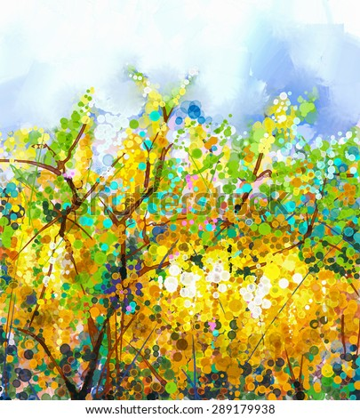 Abstract flowers watercolor mix oil color painting. Spring yellow flowers Wisteria tree with soft yellow and blue color background.