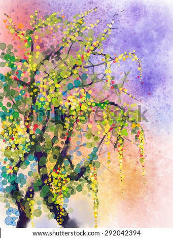Abstract flowers watercolor painting. Spring nature season with yellow flowers Wisteria tree on grunge yellow and blue watercolor background