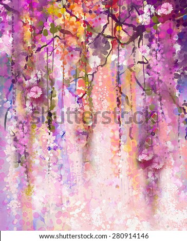 Abstract flowers watercolor painting. Spring purple flowers Wisteria background