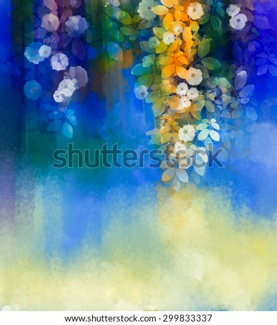 Abstract flowers watercolor painting. Spring white and yellow flowers with soft green leaves on blue background with space for your design