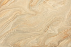 Abstract fluid art background light brown and beige colors. Liquid marble. Acrylic painting on canvas with sand pearl gradient and splash. Watercolor backdrop with wavy pattern. Stone section.