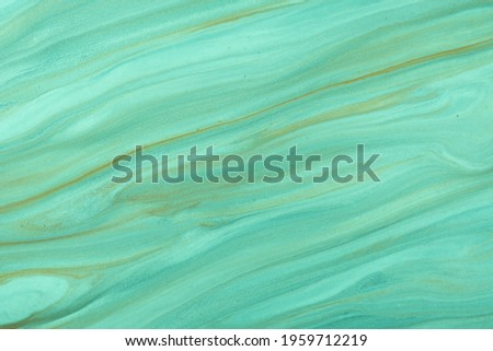 Abstract fluid art background light green and cyan colors. Liquid marble. Acrylic painting on canvas with turquoise pearl gradient and splash. Watercolor backdrop with wavy pattern. Stone section. Stock photo ©