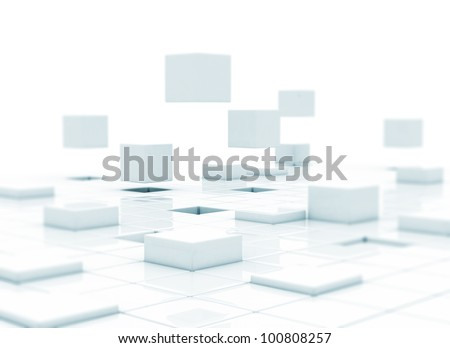 Abstract flying cubes