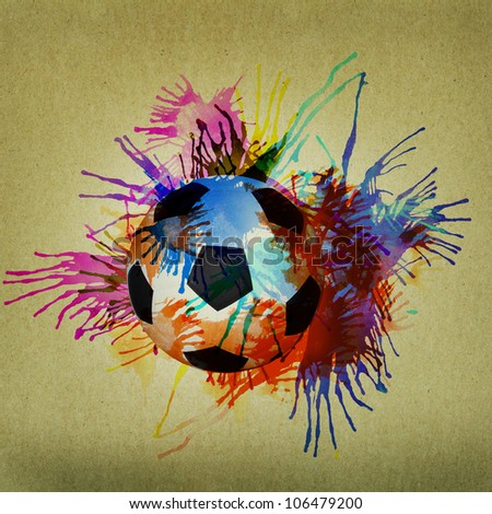 Abstract football watercolor design icon on grunge paper background.