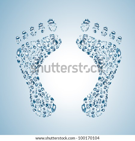 abstract footprints from water drops