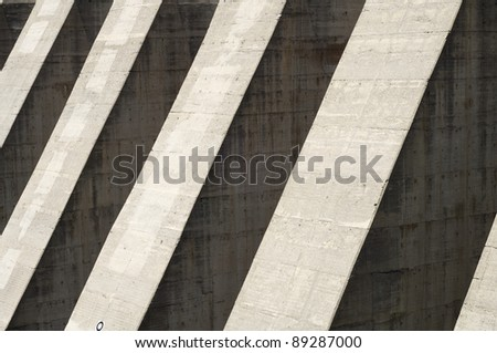 abstract  foreground hydroelectric  dam of reinforced concrete in Cavallers, Pyrenees,  Spain