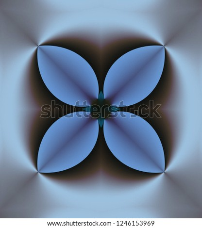 Abstract four-directional three-dimensional symmetrical pattern in gray, light gray-blue, gray-blue and other shades.