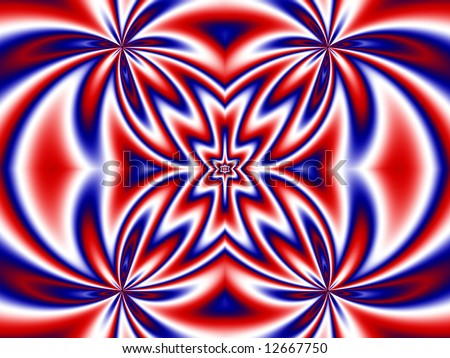 Abstract fractal background in patriotic red, white and blue.