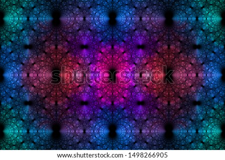 Abstract fractal background made out of a loopable intricate pattern of rings and arches in glowing blue,pink,violet,teal Stockfoto ©