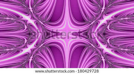 Abstract fractal background with a detailed balanced wavy texture connected to a central decorative flower/star pattern in pink color #180429728